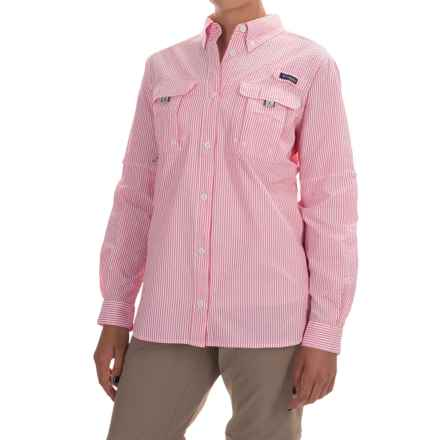 Columbia Sportswear Super Bahama Shirt - UPF 30, Roll-Up Long Sleeve (For Women) in Bright Geranium Seersucker - Closeouts