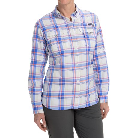 Columbia Sportswear Super Bahama Shirt - UPF 30, Roll-Up Long Sleeve (For Women) in Harbor Blue Plaid