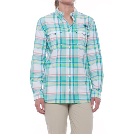 Columbia Sportswear Super Bahama Shirt - UPF 30, Roll-Up Long Sleeve (For Women) in Kelp Plaid