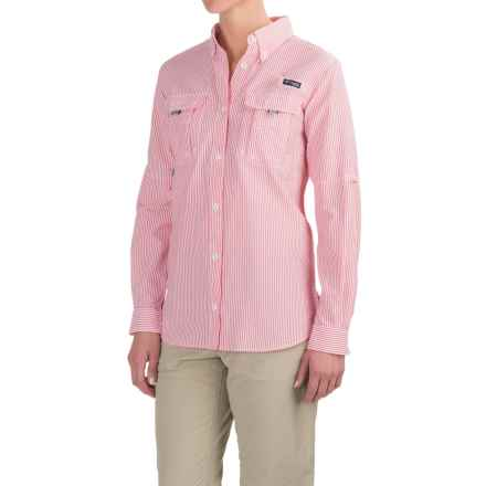 Columbia Sportswear Super Bahama Shirt - UPF 30, Roll-Up Long Sleeve (For Women) in Punch Pink Seersucker - Closeouts