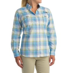 Columbia Sportswear Super Bahama Shirt - UPF 30, Roll-Up Long Sleeve (For Women) in Stormy Blue Large Plaid