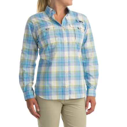 Columbia Sportswear Super Bahama Shirt - UPF 30, Roll-Up Long Sleeve (For Women) in Stormy Blue Large Plaid - Closeouts