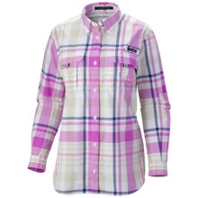 Columbia Sportswear Super Bahama Shirt - UPF 30, Roll-Up Long Sleeve (For Women) in Tropic Pink Check - Closeouts