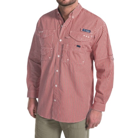 Columbia Sportswear Super Bonehead Classic Shirt - UPF 30, Long Sleeve (For Big and Tall Men) in Beet Gingham