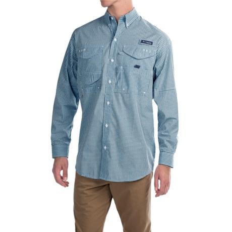 Columbia Sportswear Super Bonehead Classic Shirt - UPF 30, Long Sleeve (For Big and Tall Men) in Blue Heron Gingham