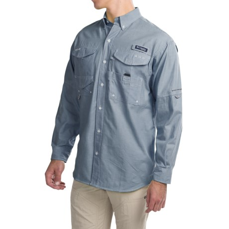 Columbia Sportswear Super Bonehead Classic Shirt - UPF 30, Long Sleeve (For Big and Tall Men) in Blue Heron Oxford