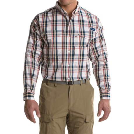 Columbia Sportswear Super Bonehead Classic Shirt - UPF 30, Long Sleeve (For Big and Tall Men) in Collegiate Navy Classic Plaid