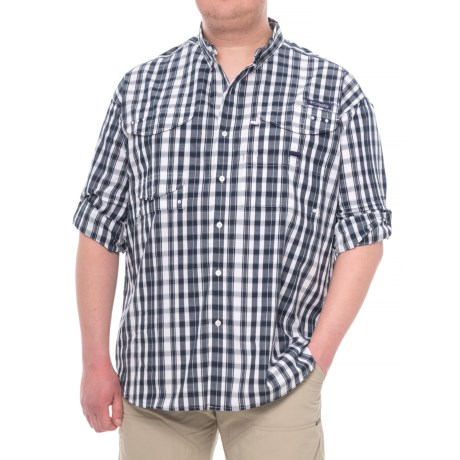 Columbia Sportswear Super Bonehead Classic Shirt - UPF 30, Long Sleeve (For Big and Tall Men) in Collegiate Navy Multi Gingham