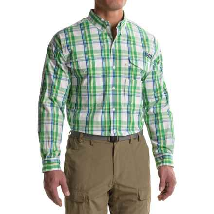 Columbia Sportswear Super Bonehead Classic Shirt - UPF 30, Long Sleeve (For Big and Tall Men) in Dark Lime Classic Plaid - Closeouts