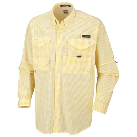 Columbia Sportswear Super Bonehead Classic Shirt - UPF 30, Long Sleeve (For Big and Tall Men) in Lemon Whip/Gingham