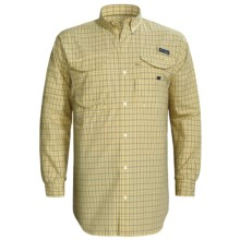 Columbia Sportswear Super Bonehead Classic Shirt - UPF 30, Long Sleeve (For Big and Tall Men) in Lemon Whip/Small Box Check - Closeouts