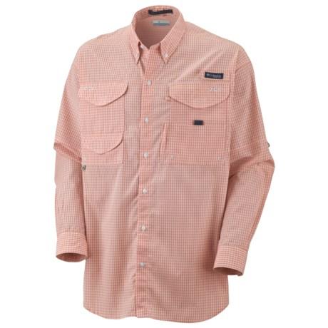 Columbia Sportswear Super Bonehead Classic Shirt - UPF 30, Long Sleeve (For Men) in Bright Peach/Gingham