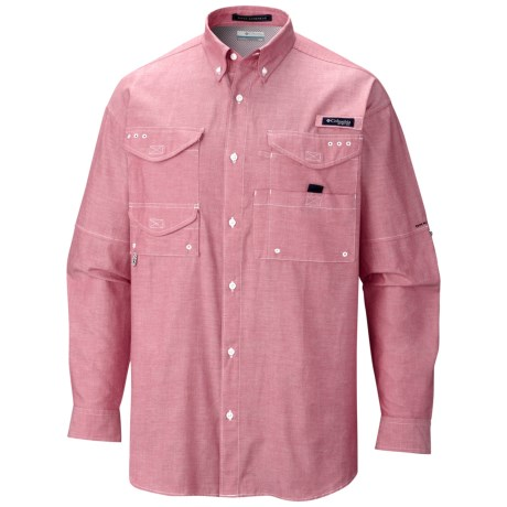 Columbia Sportswear Super Bonehead Classic Shirt - UPF 30, Long Sleeve (For Men) in Sunset Red/Oxford