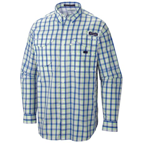 Columbia Sportswear Super Bonehead Classic Shirt - UPF 30, Long Sleeve (For Men) in Vivid Blue/Check