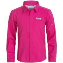 Columbia Sportswear Tamiami Shirt - Omni-Wick®, UPF 40, Long Sleeve (For Big Girls) in Haute Pink - Closeouts