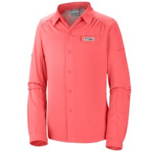 Columbia Sportswear Tamiami Shirt - UPF 40, Long Sleeve (For Little and Big Girls) in Coral Glow - Closeouts
