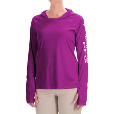 Columbia Sportswear Tidal Hooded PFG Shirt - Omni-Wick®, UPF 50, Long Sleeve (For Women) in Bright Plum/White - Closeouts