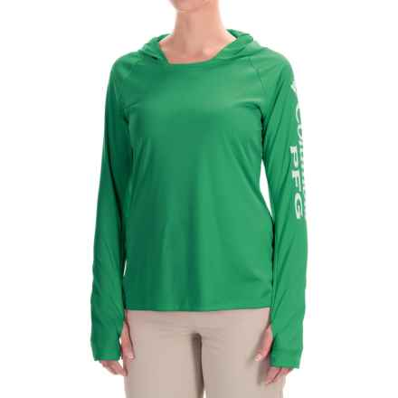 Columbia Sportswear Tidal Hooded PFG Shirt - Omni-Wick®, UPF 50, Long Sleeve (For Women) in Dark Lime/White - Closeouts