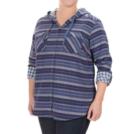 Columbia Sportswear Times Two Shirt - Hooded, Long Sleeve (For Plus Size Women) in Bluebell Stripe - Closeouts