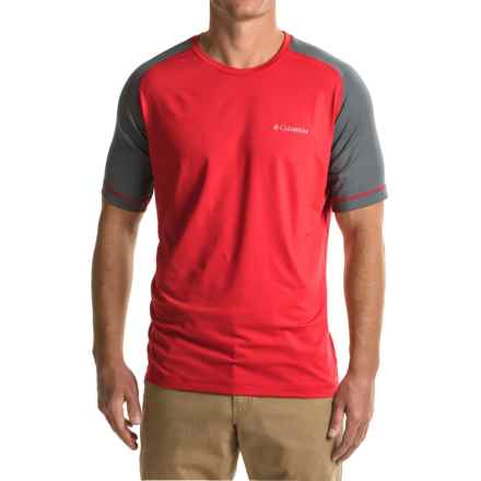 Columbia Sportswear Trail Flash Shirt - Short Sleeve (For Men) in Mountain Red/Graphite - Closeouts
