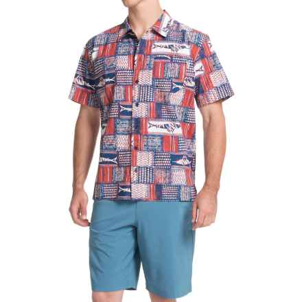 Columbia Sportswear Trollers Best PFG Shirt - UPF 50, Short Sleeve (For Men) in Sunset Red Retro Marlin Print - Closeouts