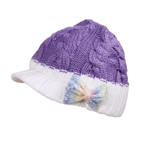 Columbia Sportswear Twilight Ride Visor Beanie Hat (For Kids) in Paisley Purple/ White