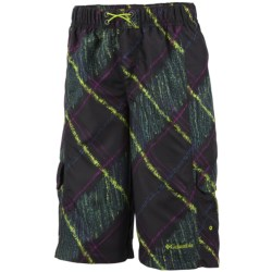 Columbia Sportswear Wake N Wave Boardshorts - UPF 30 (For Little Boys) in Black Chalk Print
