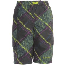 Columbia Sportswear Wake N Wave Boardshorts - UPF 30 (For Youth Boys) in Black Chalk Print - Closeouts