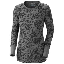 Columbia Sportswear Weekday Waffle Burnout Shirt - Crew Neck, Long Sleeve (For Plus Size Women) in Black/Floral - Closeouts