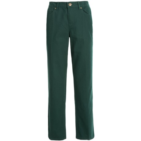 Comfort Waist Colored Pants - Stretch Cotton, Straight Leg (For Plus Size Women) in Green