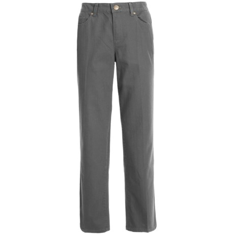 Comfort Waist Colored Pants - Stretch Cotton, Straight Leg (For Plus Size Women) in Grey