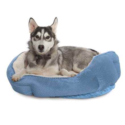 "Comfortable Pet Cationic Fleece Top Pet Bed - 27x22"" in Serenity - Closeouts"