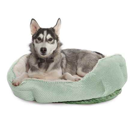 "Comfortable Pet Cationic Fleece Top Pet Bed - 27x22"" in Smoke Green - Closeouts"