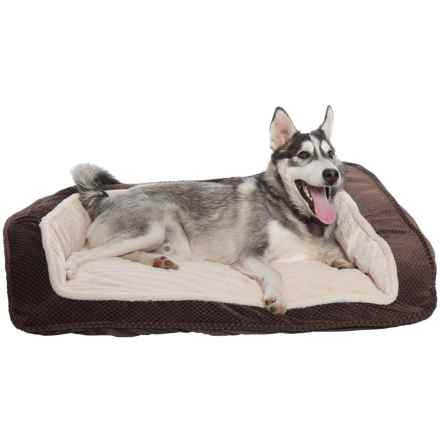 "Comfortable Pet Foam Cationic Bolster Dog Bed - 33x26"" in Chocolate - Closeouts"