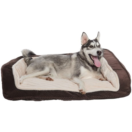 "Comfortable Pet Inc. Foam Cationic Bolster Dog Bed - 33x26"" in Chocolate"