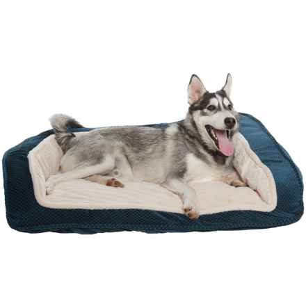 """Comfortable Pet Inc. Foam Cationic Bolster Dog Bed - 33x26"""" in Navy - Closeouts"""