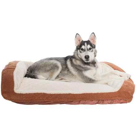 "Comfortable Pet Inc. Orthopedic Foam Pineapple Velvet Bolster Dog Bed - 33x26"" in Mocha Bisque - Closeouts"