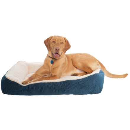 "Comfortable Pet Orthopedic Foam Cationic Cuddler Dog Bed - 27x36"" in Navy - Closeouts"