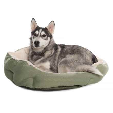 "Comfortable Pet Orthopedic Foam Knit Cuddler Pet Bed - 24x24"" in New Sage - Closeouts"