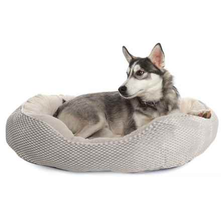 """Comfortable Pet Orthopedic Foam Plush Cuddler Dog Bed - 28x23"""" in Silver Gray - Closeouts"""