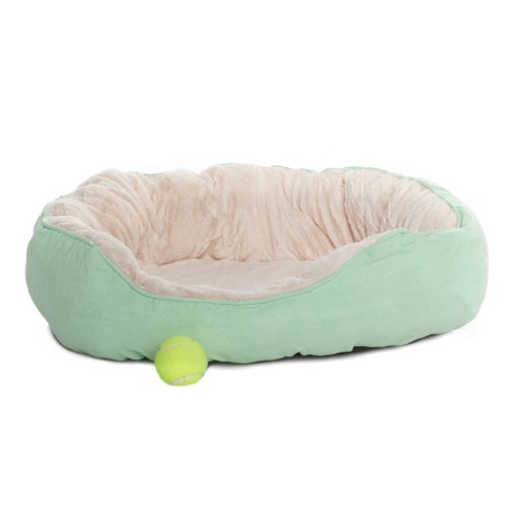 "Comfortable Pet Orthopedic Foam Suede Cuddler Pet Bed - 24x18"" in Smoke Green"