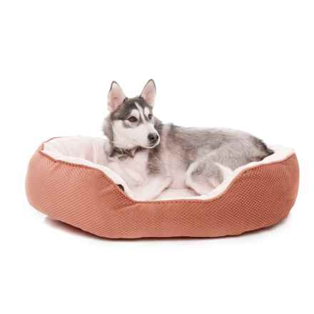 "Comfortable Pet Orthopedic Plush Cationic Cuddler Dog Bed - 28x23"" in Mocha Bisque - Closeouts"