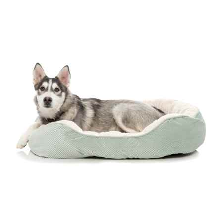 "Comfortable Pet Orthopedic Plush Cationic Cuddler Dog Bed - 28x23"" in Smoke Green - Closeouts"