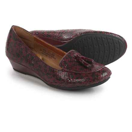 Comfortiva Ashten Wedge Shoes - Leather, Slip-Ons (For Women) in Merlot - Closeouts
