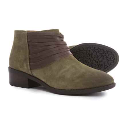 Comfortiva Corliss Ankle Boots - Leather (For Women) in Olive Suede - Closeouts