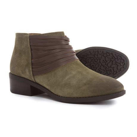 Comfortiva Corliss Ankle Boots - Leather (For Women) in Olive Suede