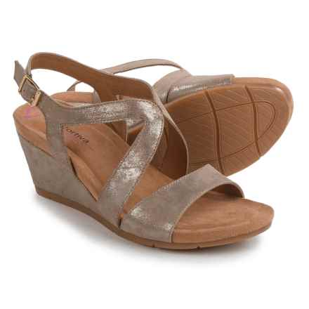 Comfortiva Vandy Wedge Sandals - Leather (For Women) in Anthracite - Closeouts