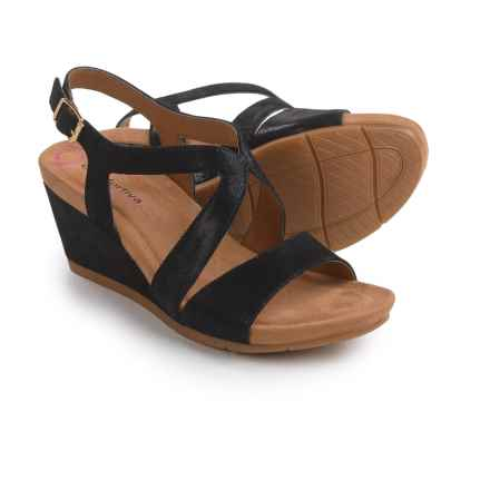 Comfortiva Vandy Wedge Sandals - Leather (For Women) in Black Suede - Closeouts