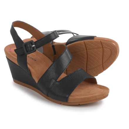 Comfortiva Violet Wedge Sandals - Leather (For Women) in Black - Closeouts