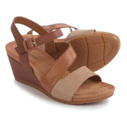 Comfortiva Violet Wedge Sandals - Leather (For Women) in Brown - Closeouts